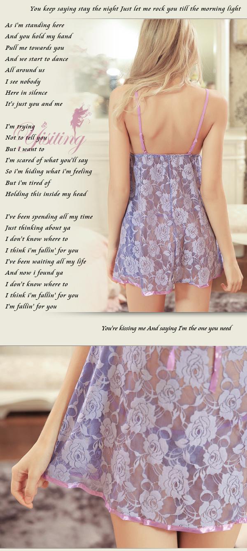 《Yisiting》浪漫紫羅蘭!裸肌深V兩件式蕾絲睡衣﹝淺紫﹞