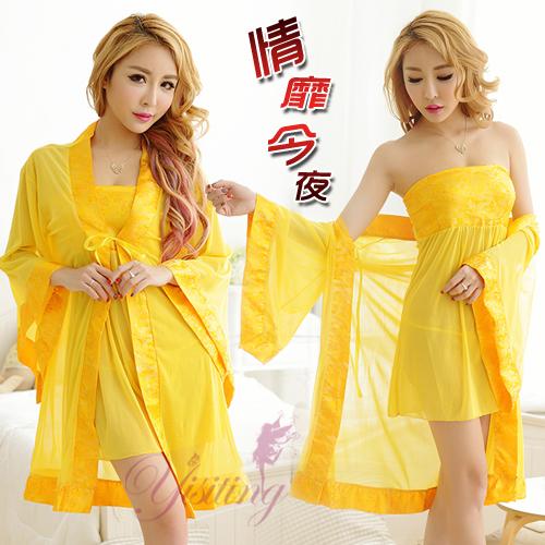 《Yisiting》情靡今夜!中國風緞面柔紗三件式睡袍組﹝黃﹞