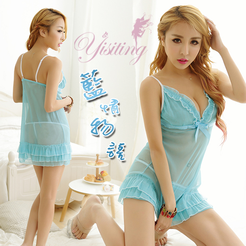 《Yisiting》藍情物語!透膚柔紗層疊裙情趣睡衣